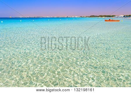The most beautiful sandy beaches of Apulia:Porto Cesareo marine,Salento coast.ITALY (Lecce).It is a tourist resort thanks to its sunny beaches extending for 17 kilometres and its clear waters.