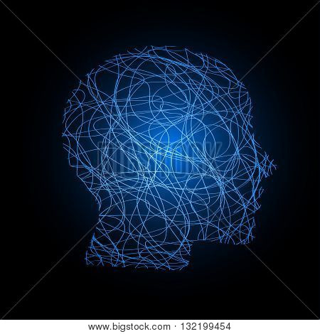 an abstract illustration of a bright blue colorful head