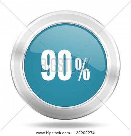 90 percent icon, blue round metallic glossy button, web and mobile app design illustration
