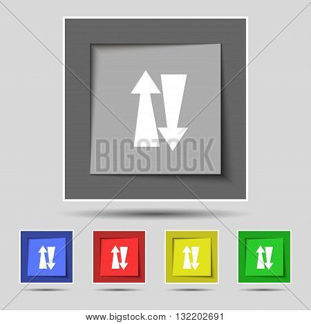 Two Way Traffic, Icon Sign On Original Five Colored Buttons. Vector