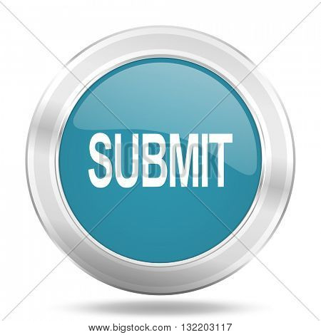 submit icon, blue round metallic glossy button, web and mobile app design illustration