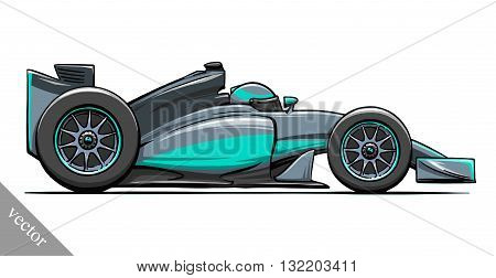 child's funny cartoon formula race car vector illustration