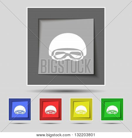 In A Ski Masks, Snowboard Ski Goggles, Diving Mask Icon Sign On Original Five Colored Buttons. Vecto