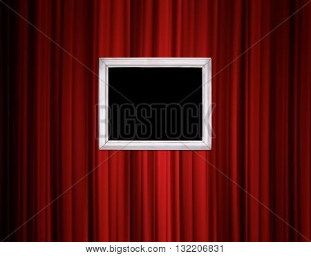 Red Curtain With Vintage Frame