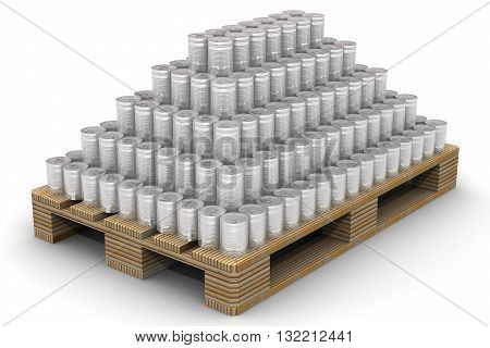 Cans stacked on a Euro-pallet. A lot of tin cans without label stacked on a Euro-pallet. Isolated. 3D Illustration