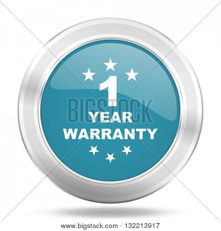warranty guarantee 1 year icon, blue round metallic glossy button, web and mobile app design illustration