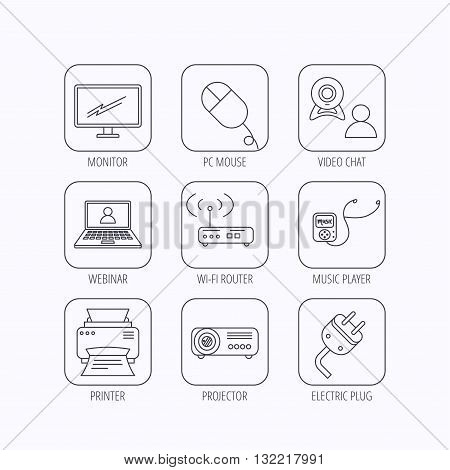 Printer, wi-fi router and projector icons. Monitor, video chat and webinar linear signs. Electric plug, pc mouse and music player icons. Flat linear icons in squares on white background. Vector