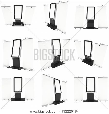 LCD Screen Floor Stand with Roll-Up Set. Blank Trade Show Booth Collection. 3d render of lcd screen isolated on white background. High Resolution Floor Stand. Ad template for your expo design.