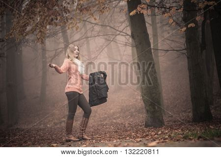 Lost Woman Foggy Autumn Park Searching Direction.