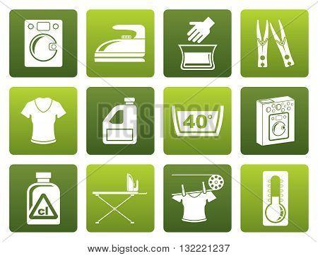 Flat Washing machine and laundry icons - vector illustration