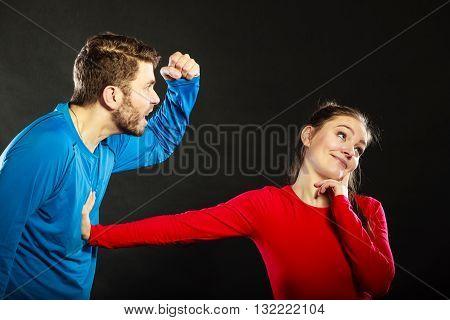 Man Husband Abusing Woman Wife. Violence.