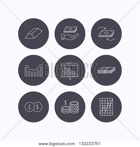 Banking, cash money and statistics icons. Money flow, gold bar and dollar usd linear signs. Dynamics chart, coins and savings icons. Flat icons in circle buttons on white background. Vector