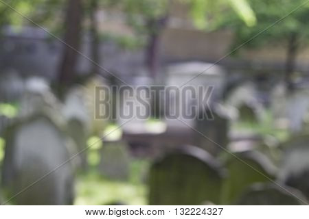 Graveyard with tombstones - blurred shallow depth of field