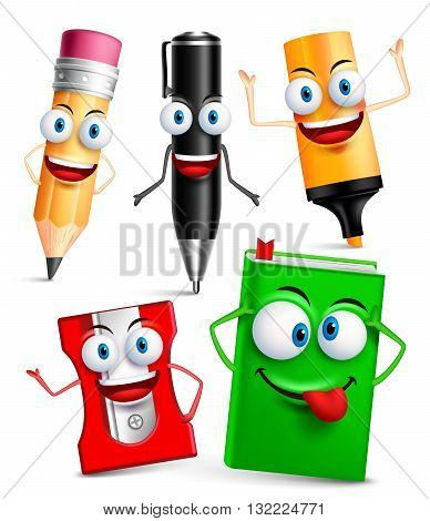 Vector character of school items funny mascot 3D set with gestures and facial expressions isolated in white background. Vector illustration
