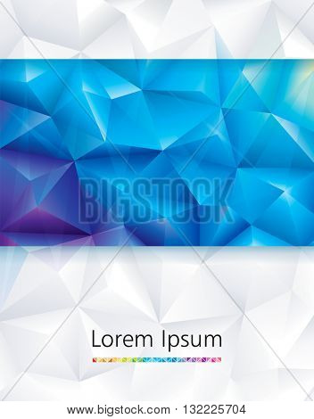 Abstract geometric polygonal blue and white background.