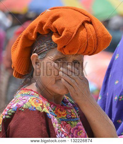 SANTIAGO DE ATITLAN GUATEMALA APRIL 29 2016: Portrait of a Mayan woman. The Mayan people still make up a majority of the population in Guatemala.