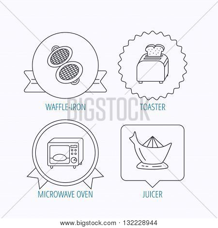 Microwave oven, toaster and juicer icons. Waffle-iron linear sign. Award medal, star label and speech bubble designs. Vector