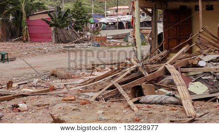 Houses On The Coast Of Ecuador Been Devastated By The Massive Earthquake, South America April 16Th 2016