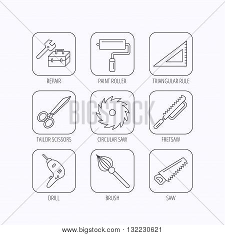 Scissors, paint roller and repair tools icons. Fretsaw, circular saw and brush linear signs. Triangular rule, drill icons. Flat linear icons in squares on white background. Vector
