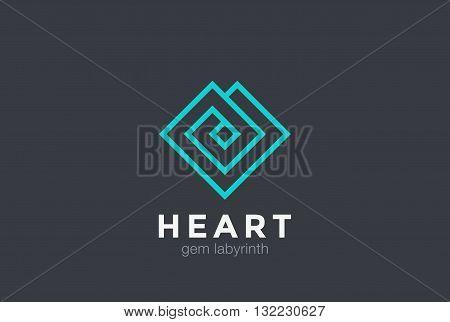 Geometric Heart Logo design vector linear Luxury Jewelry Fashion