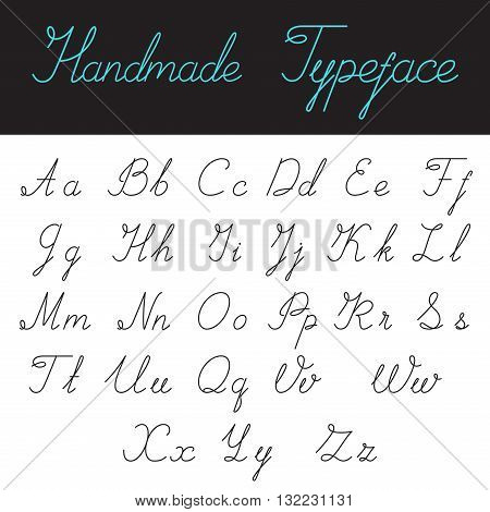 Handmade Calligraphic Script Font Linear style vector typeface