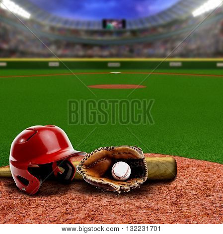 Baseball stadium full of fans in the stands with baseball helmet bat glove and ball on infield dirt clay. Deliberate focus on equipment and foreground with shallow depth of field on background. Floodlights flare for effect and copy space.