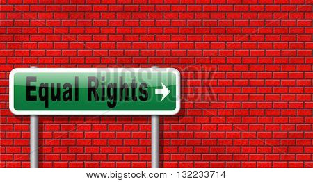 Equal rights no discrimination and same opportunities for all women man disabled black and white solidarity discrimination of people with disability physical or mental, road sign billboard.