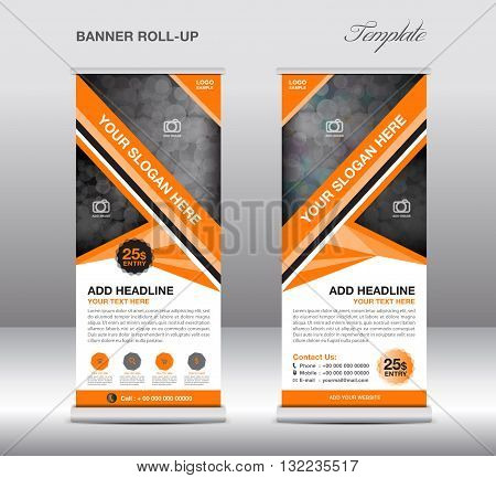 Orange Roll up banner stand template stand design banner template Orange banner advertisement design flyer design Poster layout  template