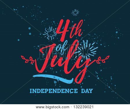 Fourth of July, United Stated independence day greeting. Typographic design. Usable for greeting cards, banners, print. poster