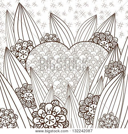 Whimsical garden adult coloring page. Hand drawn vector illustration. Brown outline.