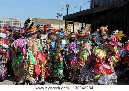 GALVESTON, TEXAS / USA - FEBRUARY 7, 2016: The Quaker City String Band Philadelphia Mummers open the 12th Annual Firefighter's Children's Parade at Galveston's Mardi Gras Celebration.