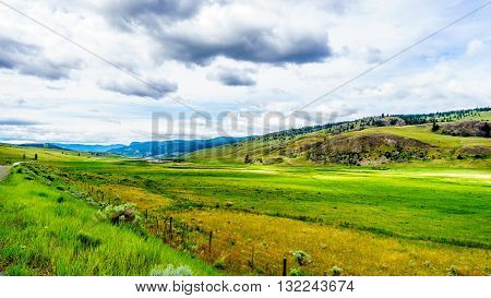 The wide open grasslands and rolling hills of the Nicola Valley between Kamloops and Merritt, British Columbia