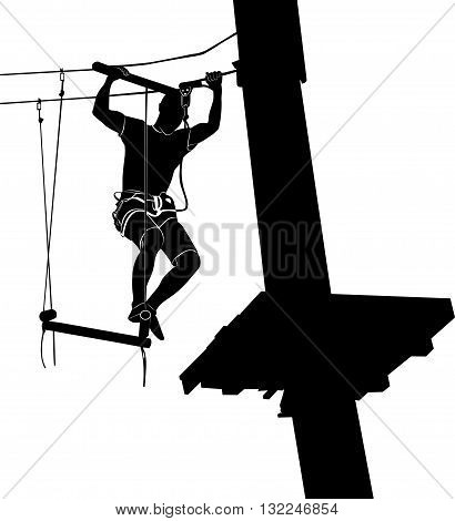 man on cables in an adventure park on a difficult course. park on a difficult course. Silhouette Adventure. adventure park. adventure park vector black silhouette isolated on white background