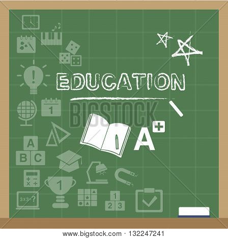 illustration of education icons on the blackboard