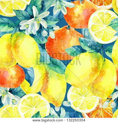Watercolor mandarine orange and lemon fruit with leaves and blossom seamless pattern. Orange lemon citrus tree background. Tangerine lemon leaf flower in retro style. Hand painted illustration
