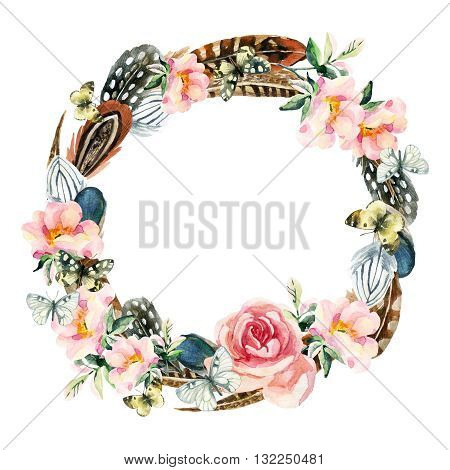 Watercolor bird feathers briar flowers and butterfly wreath isolated on white background. Colorful feather dog roses wreath and butterfly. Watercolor art illustration with floral and boho elements.