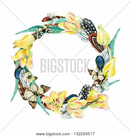 Watercolor wreath with bird feathers flowers and butterfly isolated on white background. Colorful feather tulip wreath and butterfly. Watercolor art illustration with floral and boho elements.