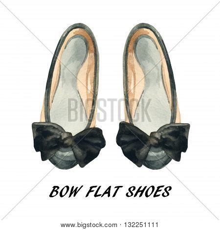 Watercolor bow flat shoes isolated on white background. Summer flat pumps shoes painting. Two toned leather pumps with black bow. Hand painted fashion art illustration with paper texture.
