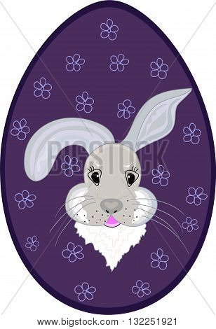 Easter egg with beautiful bunny. Vector illustration. You can use it as an Easter background, invitation, greeting card