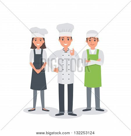 Professional chef group. Сhief-cooker with assistants. Vector people illustration.