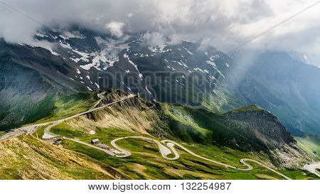 A scenic road up the Alps mountain