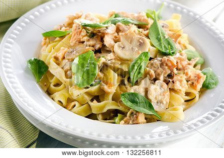 Pasta Fettuccini With Mushrooms, Spinach And Cream Sauce.