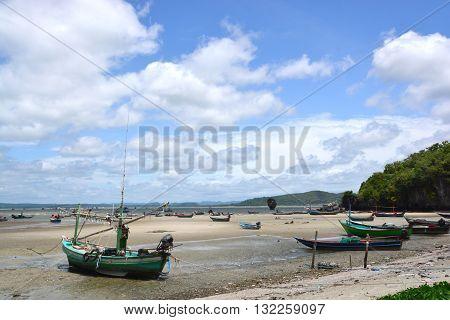 Traditional Thai boats near the beach. Thailand