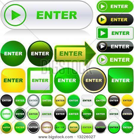 Enter button. Vector set for web.
