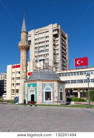 The ocragonal Konak Mosque in Izmir, Turkey