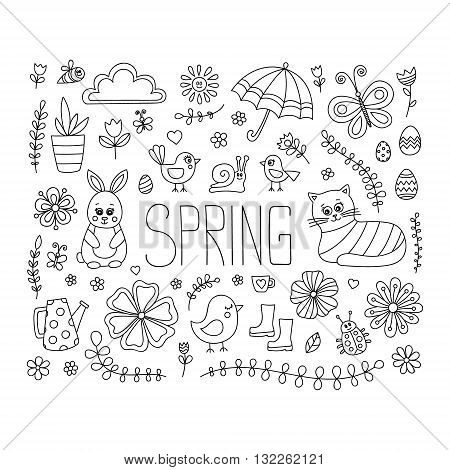 Spring doodle elements. Vector cute hand drawn spring elements - bunny cat flower bird chicken sun cloud umbrella butterfly rubber boots easter egg watering can. Outline.