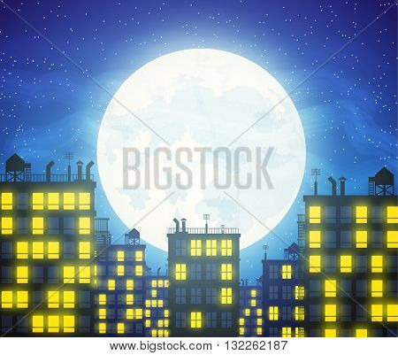 Silhouette of the city, buildings rooftops and cloudy night sky with stars and moon. vector illustration