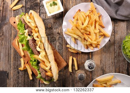 americain sandwich with beef and french fries