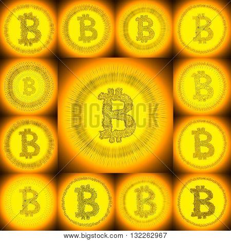 Golden Hand-drawn Bitcoin Symbol Collage