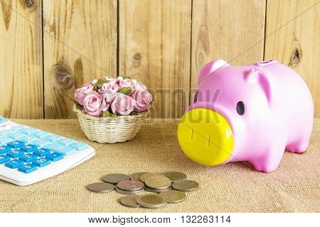 Pink Pig piggy bank Calculator coins and flowers